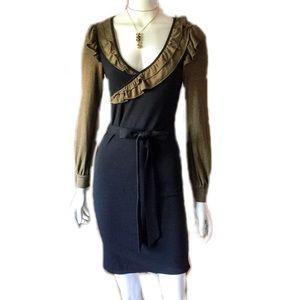 Theme Dresses - Theme Body Con Long Sleeve Dress with Ruffles